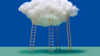 Ladders lead up into the clouds.