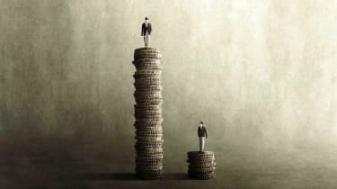A person on top of a very tall stack of coins, and another person on a very small stack of coins