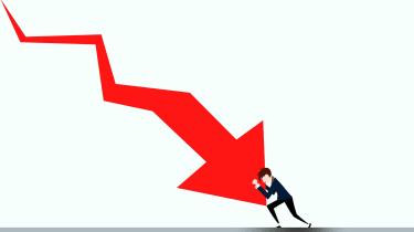 A down arrow pushes onto a businessman