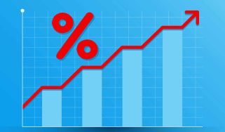 Concept art of rising interest rates