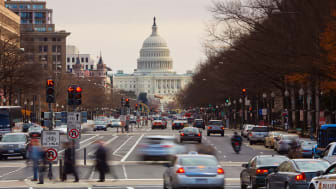 picture of Washington, DC, street with Capitol building in the background
