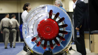 LAS VEGAS, NV - AUGUST 9:Pratt & Whitney's PW300 turbofan engine is on display during the Unmanned Systems North America trade show at the Mandalay Bay Convention Center on August 9, 2012 in