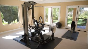 A weight set in a home gym.