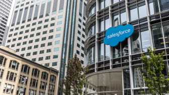 San Francisco, United States - August 24, 2018: Outside Salesforce Tower in San Francisco, located at 415 Mission St. Salesforce is an American cloud computing company with headquarters in Sa