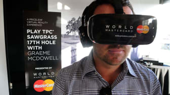 ORLANDO, FL - MARCH 15:PGA TOUR golfer, Graeme McDowell demonstrates MasterCard's latest payment enabled solutions, including virtual reality at the Arnold Palmer Invitational Presented by Ma
