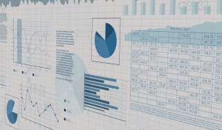 Concept art showing charts, graphs and numbers