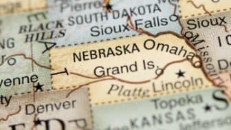 A close-up/macro photograph of Nebraska from a desktop globe. Adobe RGB color profile.