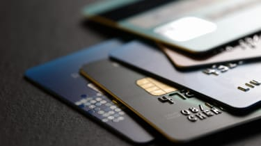 Close-up of a stack of credit cards on a table