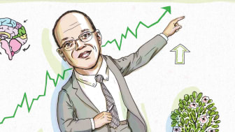 Photo-illustration of John Rogers pointing at a stock chart