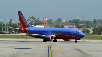 LOS ANGELES, CA - APRIL 05:A Southwest Airlines Boeing 737-700 passenger jet taxis on the tarmac after arriving at Los Angeles International Airport on April 5, 2011 in Los Angeles, Californi
