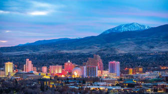 The Reno skyline with mountains in the background