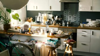 Messy counters in a kitchen