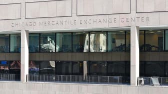 The front of the Chicago Mercantile Exchange Center