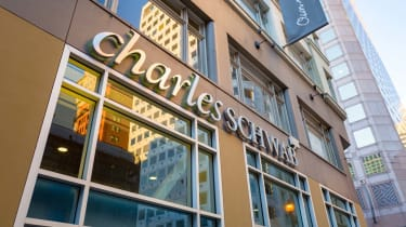 Low-angle view of logo on facade of Charles Schwab brokerage in the Financial District neighborhood of San Francisco, California, December 25, 2018.