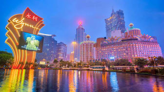 Macau, China - March 12, 2016: Buildings of Macau Casino on March 12, 2016, Gambling tourism is Macau's biggest source of revenue, making up about fifty percent of the economy.
