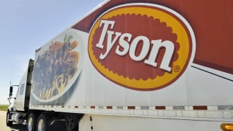North Platte, Nebraska, USA - June 28, 2013: A Tyson Foods semi truck on Interstate 80 near North Platte. Tyson Foods is a multi national food processor.