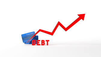 "picture of two credit cards, the word ""Debt"" in red, and an arrow chart indicating increasing debt"
