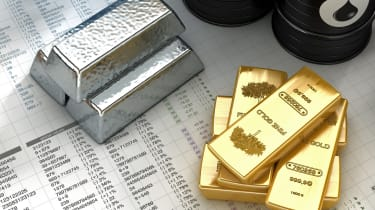 """""""Silver, gold ingots with oil barrels on fictitious financial datas.Similar images:"""""""