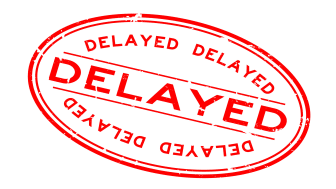 """picture of rubber stamp mark saying """"delayed"""""""