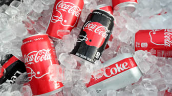 cans of Coca-Cola on ice