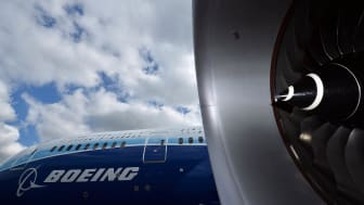 MANCHESTER, ENGLAND - APRIL 24:The new Boeing Dreamliner 787 fitted with Rolls Royce engines sits on the tarmac at Manchester Airport during it's tour of the worldon April 24, 2012 in Manches