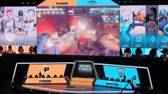 NEW YORK, NY - JULY 27:Philadelphia Fusion and London Spitfire teams are seen onstae at Overwatch League Grand Finals - Day 1 at Barclays Center on July 27, 2018 in New York City.(Photo by Ma