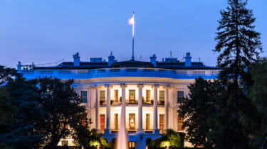 The White House South Lawn Washington D.C., the White House from the backside at blue hour.