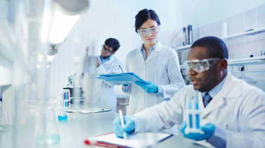 Biotech workers in a lab
