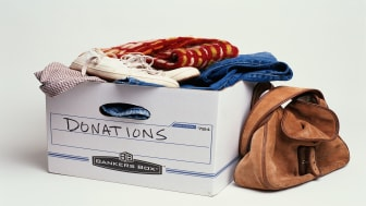 picture of box containing donated clothes