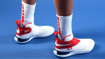 WEST HOLLYWOOD, CALIFORNIA - NOVEMBER 21: A detail view of the Nike Air Zoom UNVRS sneakers worn by basketball player Elena Delle Donne as she poses for a portrait during the Team USA Tokyo 2