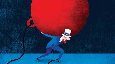 Illustration of Uncle Sam carrying heavy debt burden