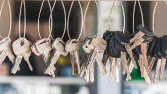 Many key chains for copying keys at locksmith shop.