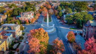 An aerial shot of part of downtown Richmond, Va.