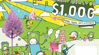 Illustration of Great Ideas for $1,000: Home, Travel, Gifts & Fitness
