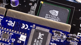 Sofia, Bulgaria - 27 July 2018: NVIDIA GeForce chip is seen on a printed circuit board PCB. Computational equipment.