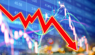 red down arrow over stock chart