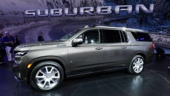 DETROIT, MI - DECEMBER 10: The new 2021 Chevrolet Suburban High Country is shown on stage after it was revealed by General Motors at Little Caesars Arena on December 10, 2019 in Detroit, Mich