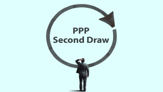 """drawing of man in front of large sign saying """"PPP Second Draw"""""""