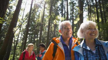Senior couple hiking in sunny woods