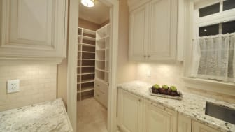 Empty walk-in kitchen pantry