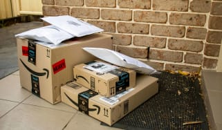 Amazon Prime Day packages sit on a front porch