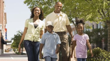 Family walking in city outdoors