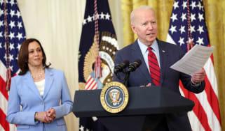 U.S. President Joe Biden delivers remarks alongside Vice President Kamala Harris on the Senate's bipartisan infrastructure deal Thursday, June 24, at the White House in Washington, D.C.
