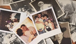 A pile of family photos