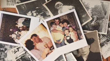 A pile of family photos