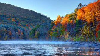 Autumn foliage on the Housatonic River in the Litchfield Hills of Connecticut