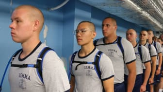 picture of Merchant Marine Academy midshipmen lined up on their first day
