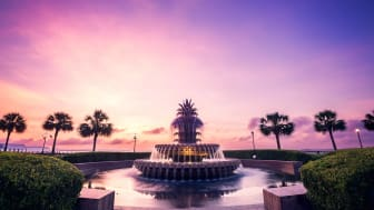 The pineapple fountain in Charleston, South Carolina at historic Waterfront Park