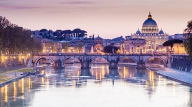 Tiber and St Peter Basilica in Vatican, Rome