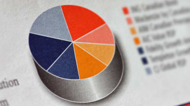 Pie chart showing a mutual fund portfolio